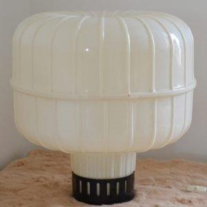 Grande Lampada da tavolo modernariato in plastica bianca