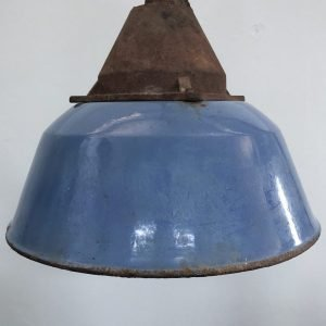 Lampada da fabbrica vintage in ferro smaltato e ghisa