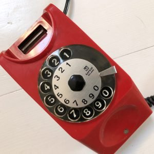 telefono a disco anni 80 rosso