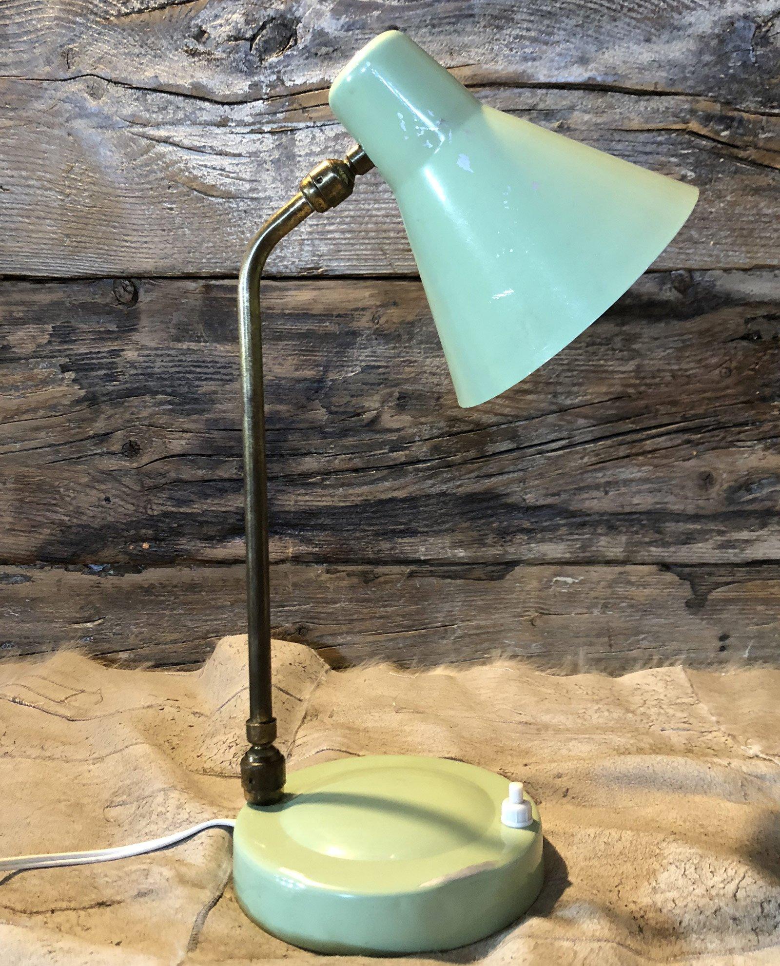 Lampada Da Scrivania In Ottone.Lampada Vintage Da Comodino Con Stelo In Ottone Parabola E Base Verde Acqua