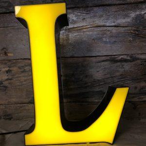 Lettera Vintage L Scatolata in plastica nero giallo illuminata led