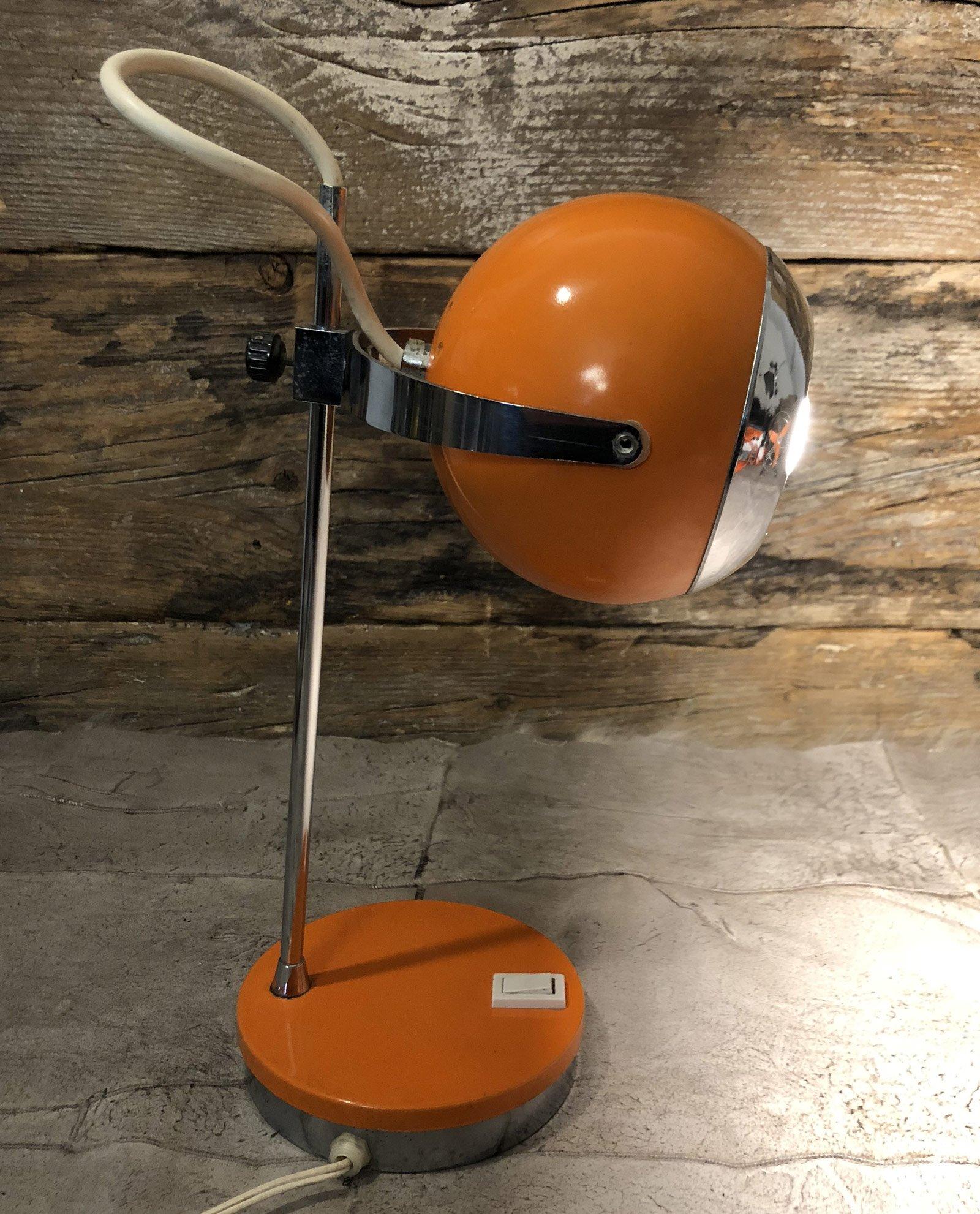 Lampada Da Tavolo Anni 60 70 Arancio Con Parabola A Palla E Profili Cromati