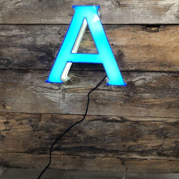 A – Lettera Vintage Insegna Grigio Blu in plexiglass
