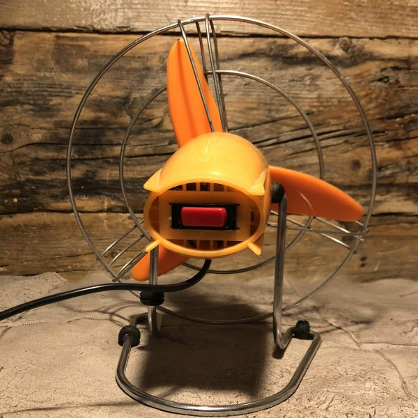 Ventilatore Vintage Arancio anni 60/70 pulsante