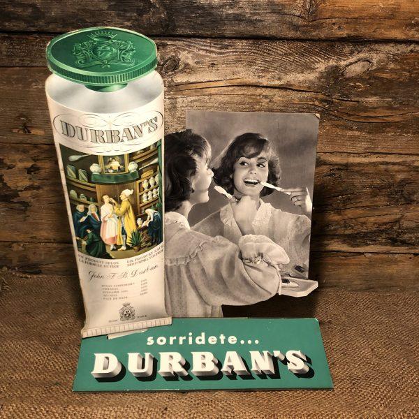 cartello vetrina anni 50 durbans con marca da bollo