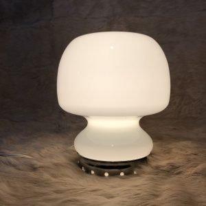 Lampada da Tavolo in vetro anni 70 bianco