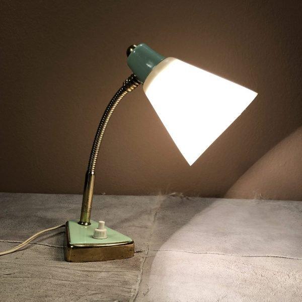 lampada da comodino anni 50 verde acqua e ottone