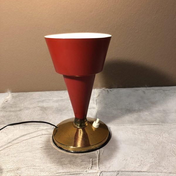 lampada a calice da tavolo rossa anni 50