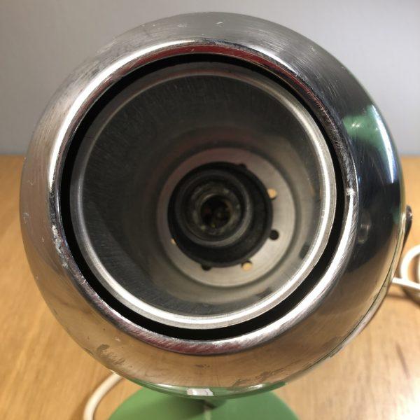 lampada vintage verde eyeball anni 60/70 spaceage dettaglio parabola