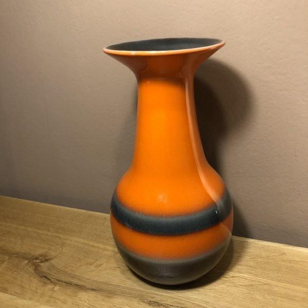 vaso vintage in ceramica arancio e marrone