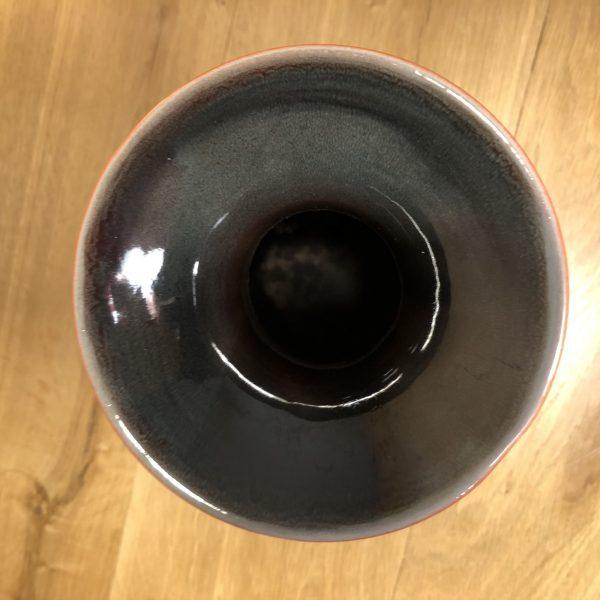 vaso vintage in ceramica arancio e marrone base