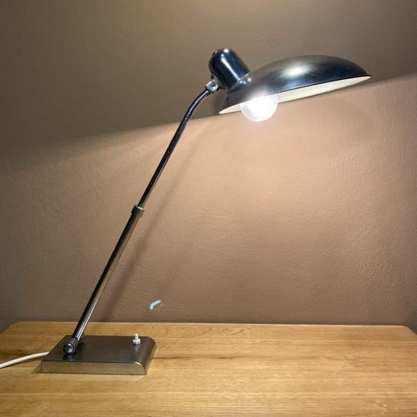 lampada industriale da tavolo cromata