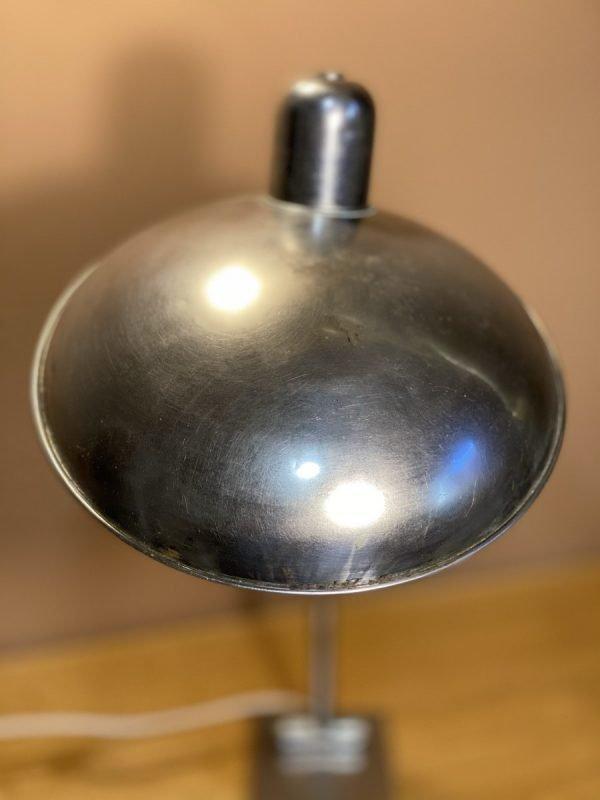 parabola lampada industriale da tavolo cromata