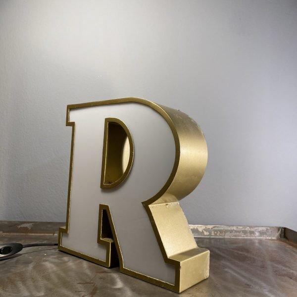 Lettera R Vintage scatolata in ferro colore oro antico