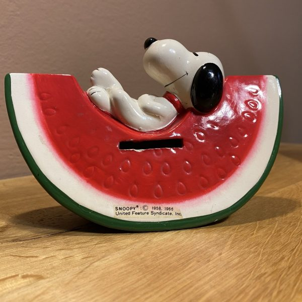Salvadanaio Snoopy anni 70 con anguria